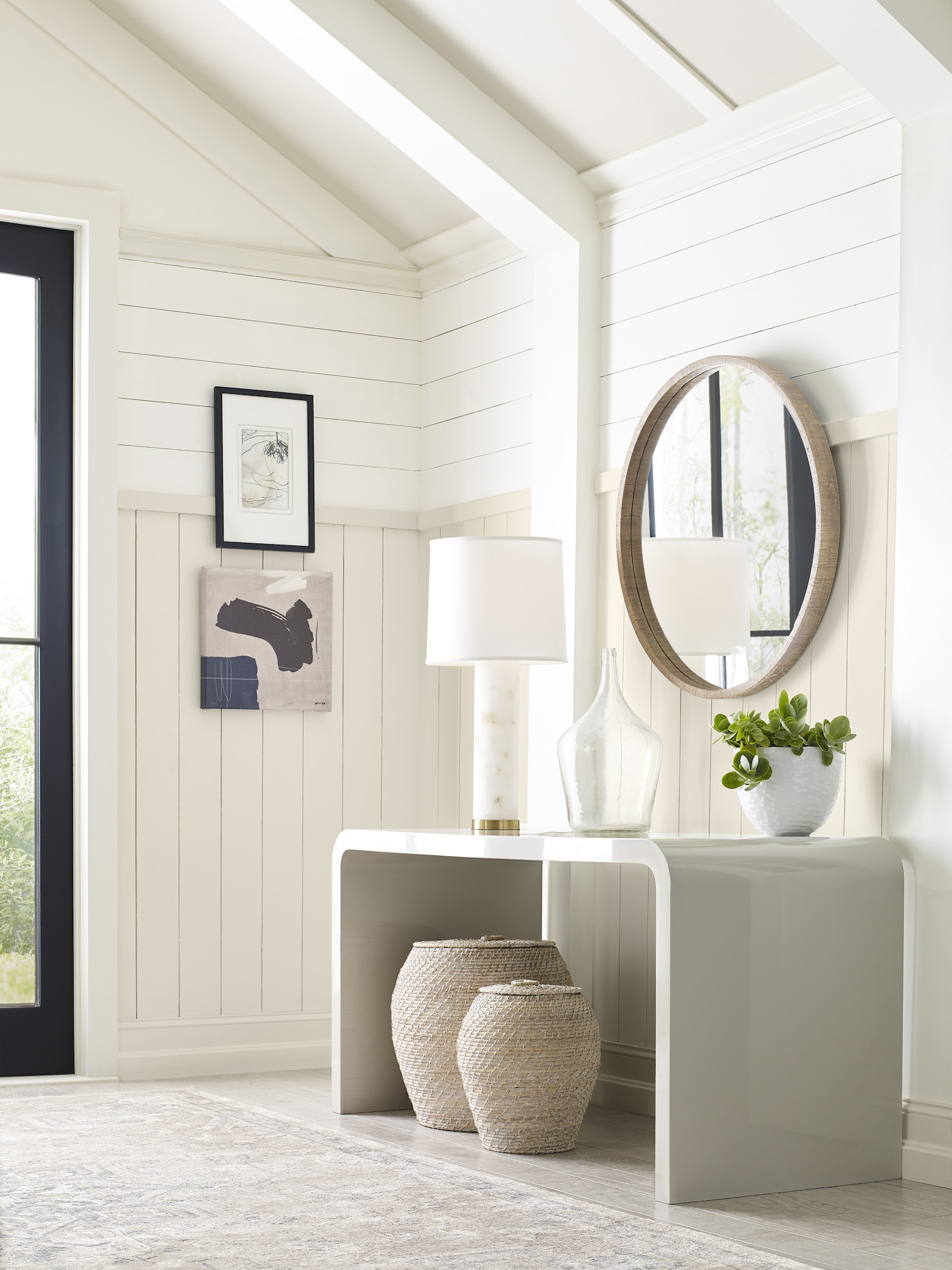 Sherwin Williams nature-inspired color palette in cream-colored entryway