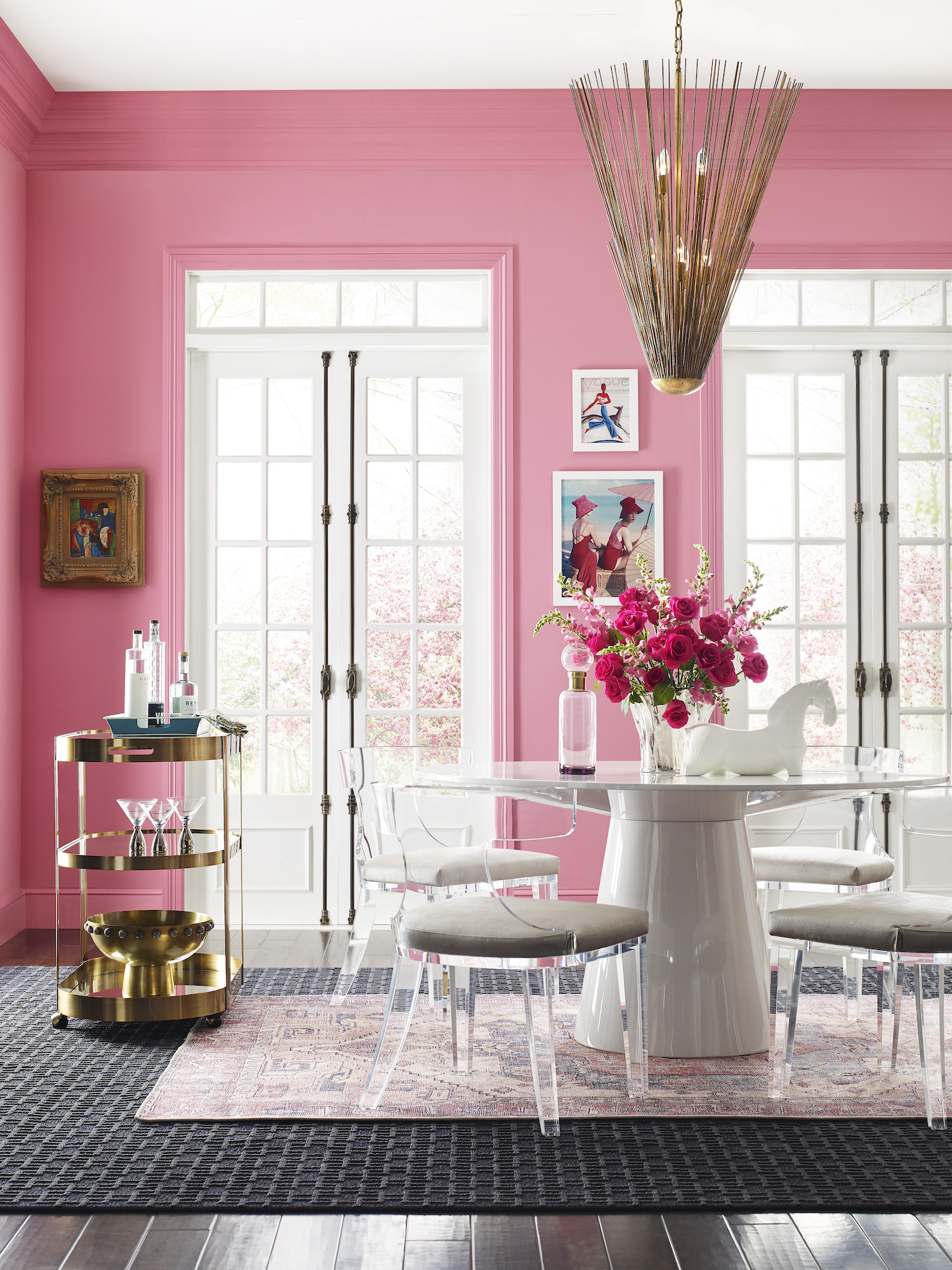 Sherwin Williams color forecast 2021, pink walls in dining room