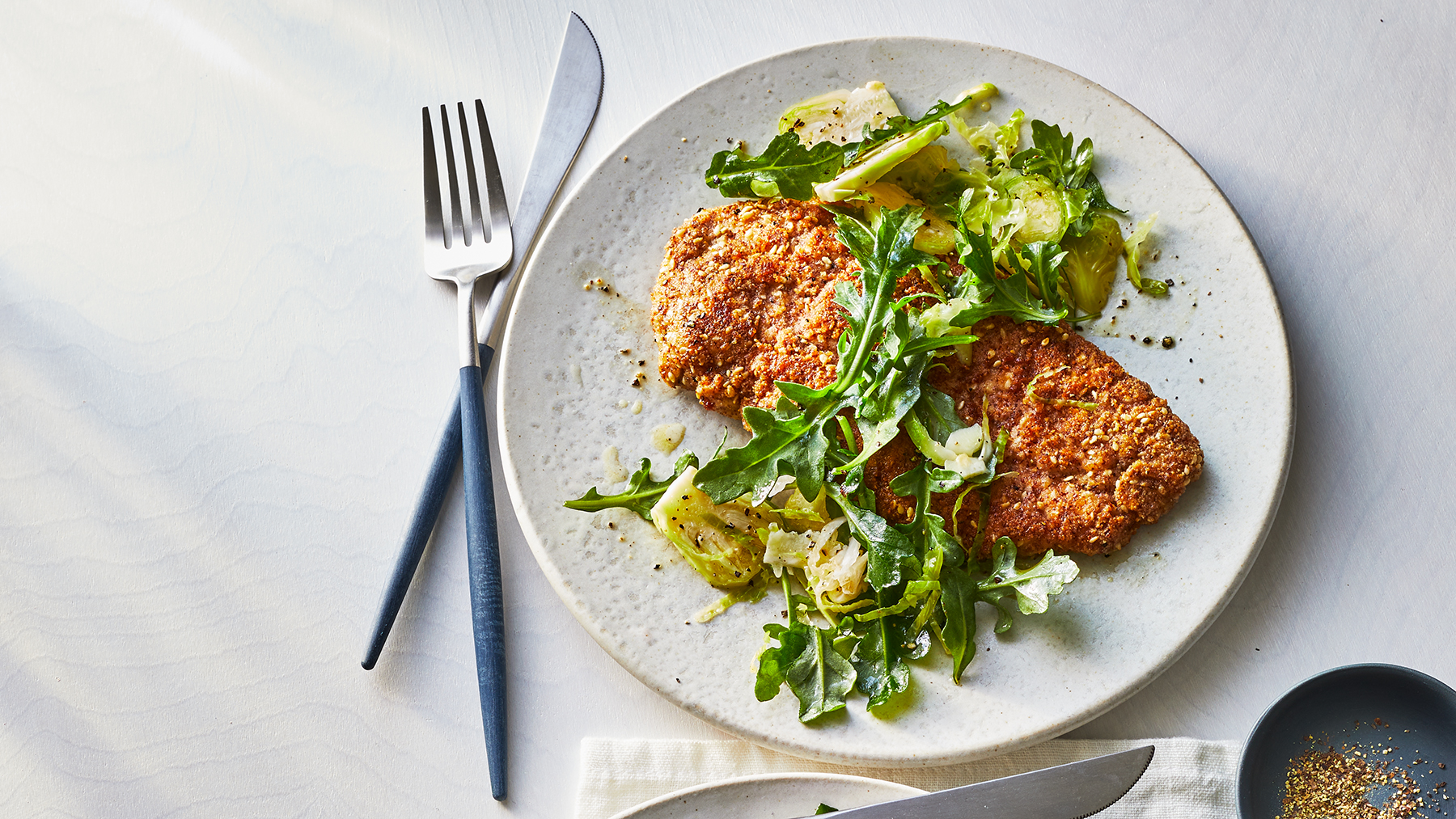 Almond-Crusted Chicken With Arugula Salad Recipe