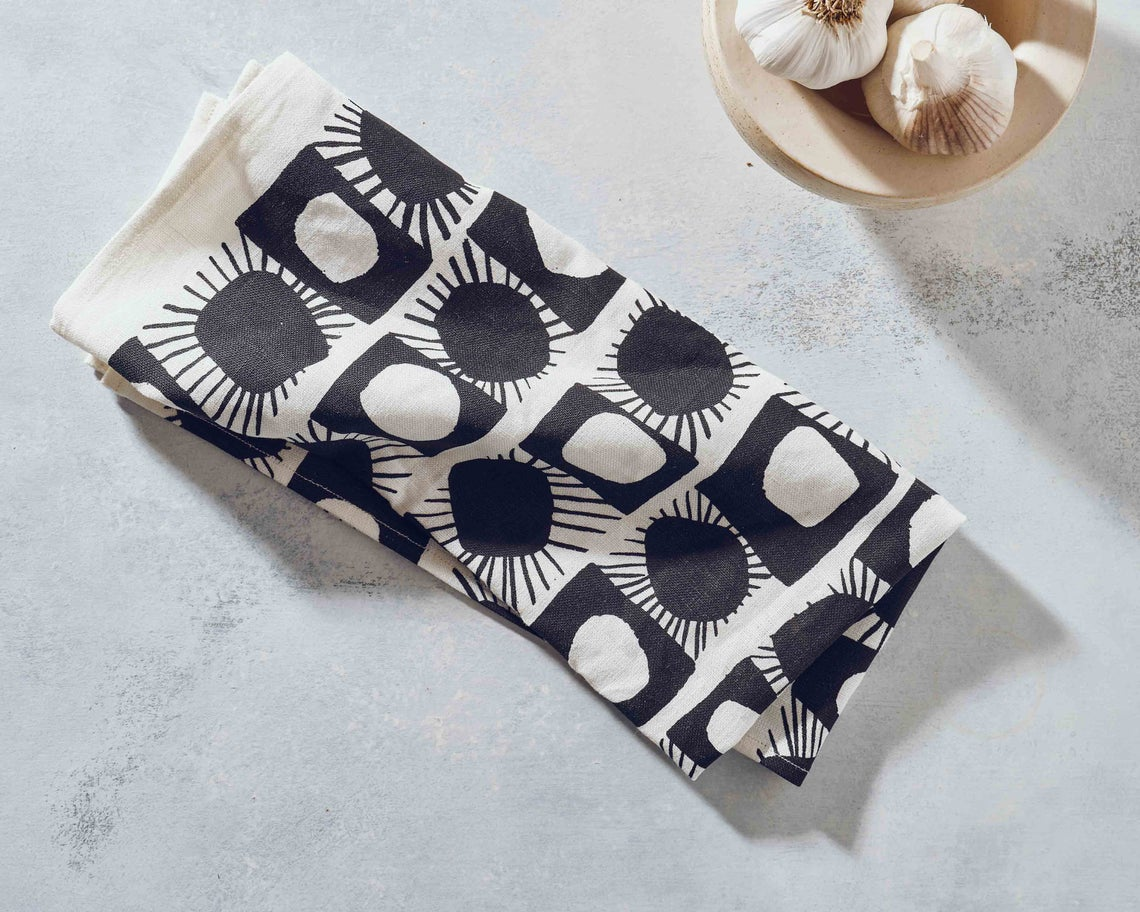 Black and white patterned printed dish towel