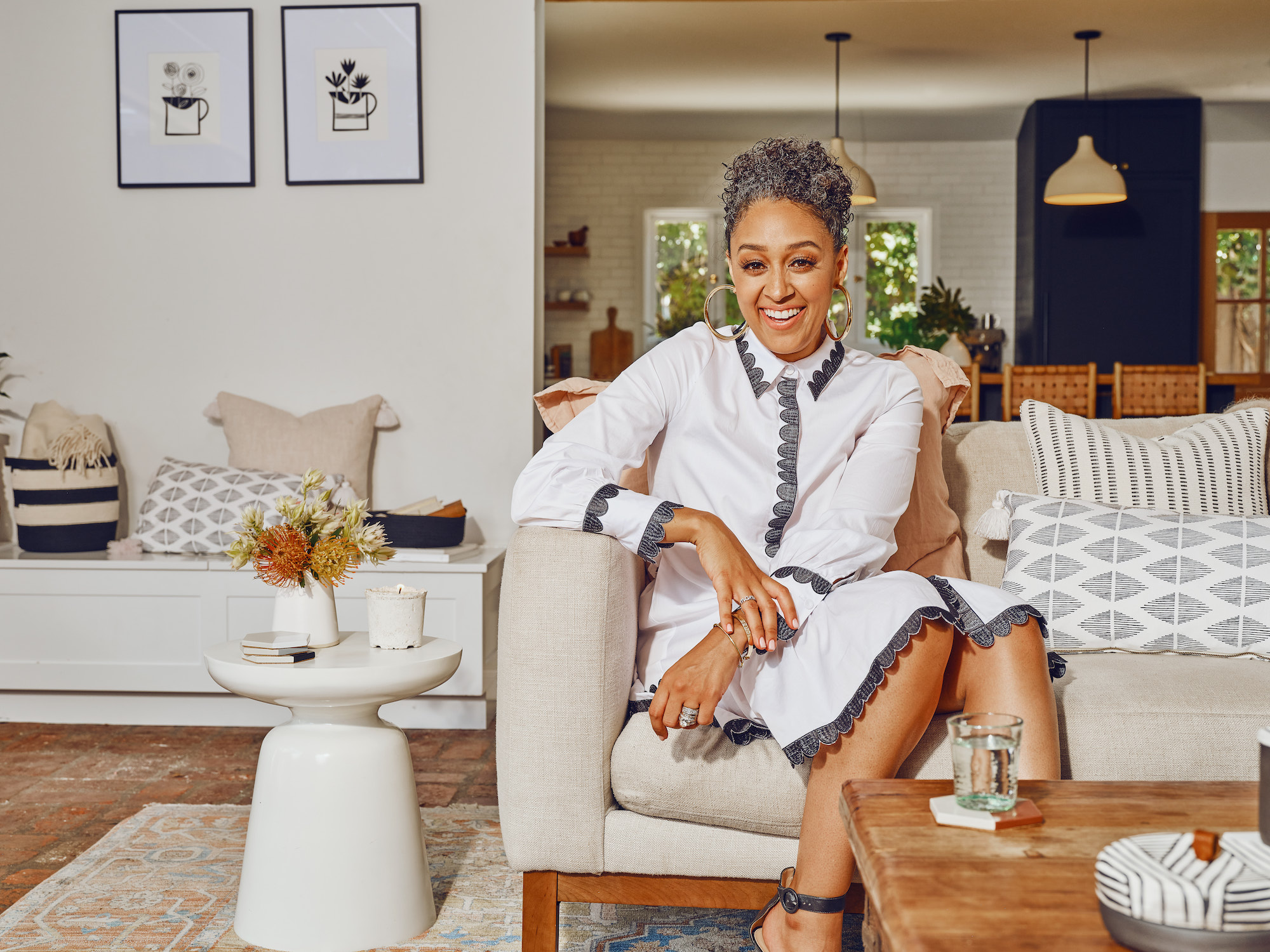 Tia Mowry in beautiful living room