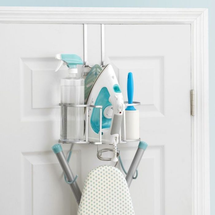 back of door rack for ironing board and laundry supplies
