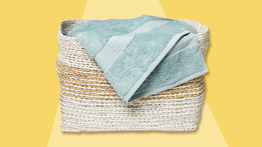 how-to-wash-towels: basket of towels