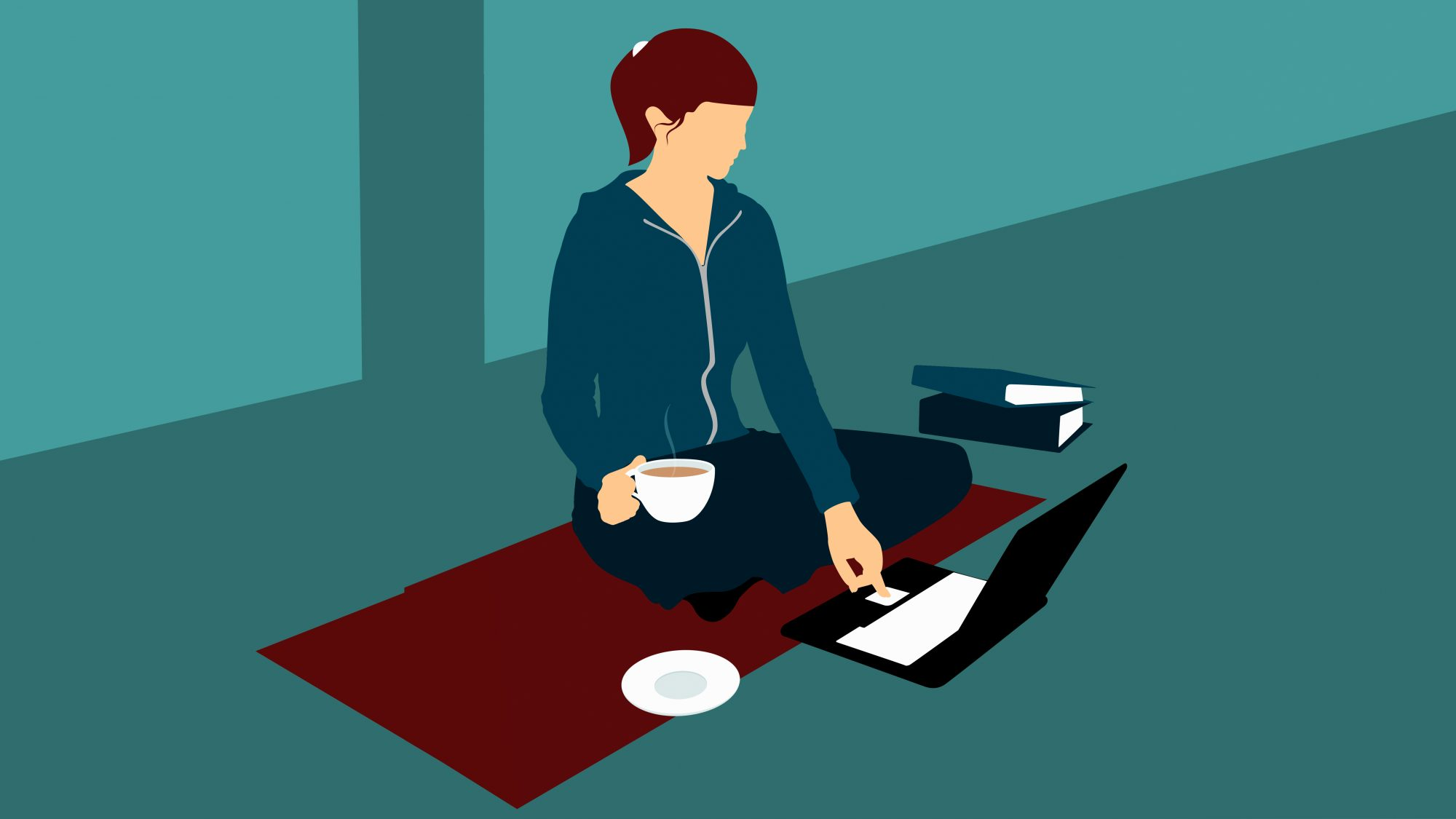 Illustration of a woman sitting on the floor with a cup of tea and using a laptop