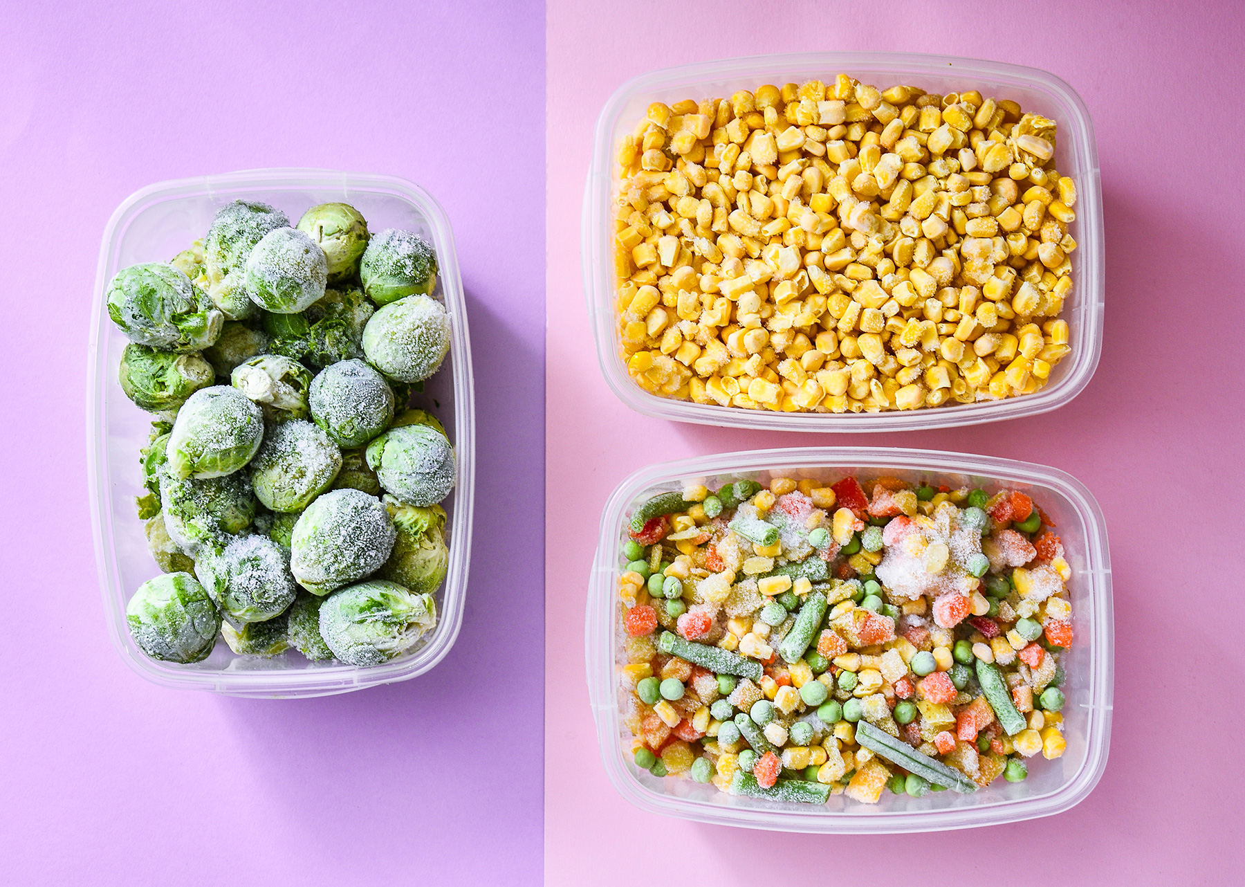 Freezer Organization Ideas: frozen vegetables in containers