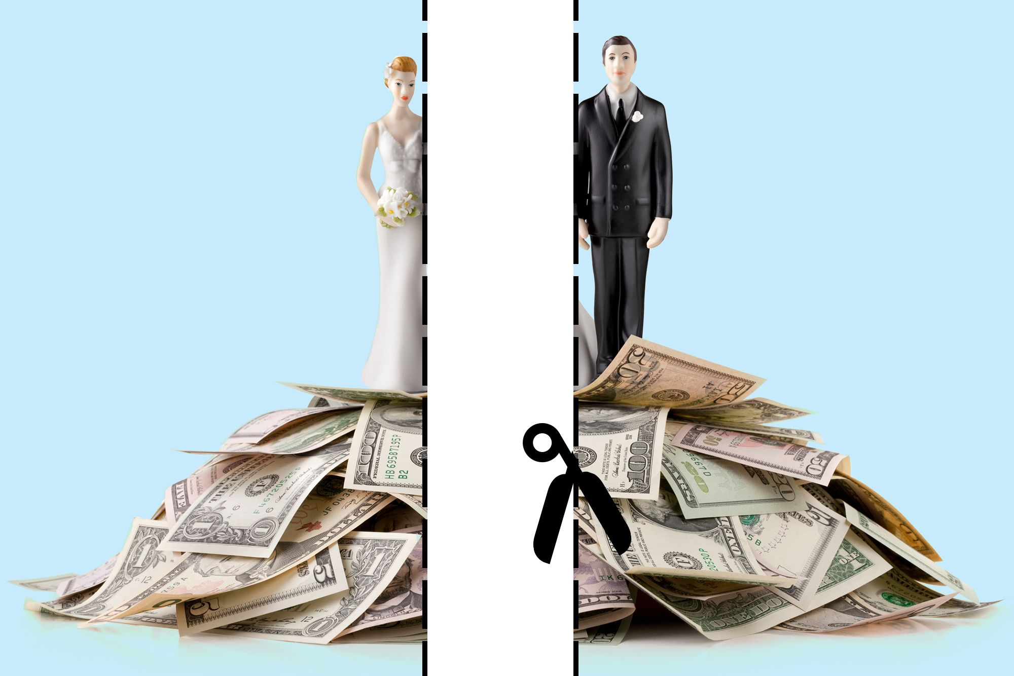 A divorcing couple standing on a pile of money