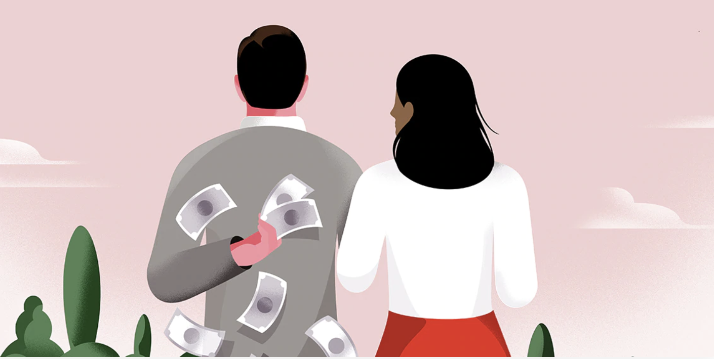 Couple with man holding money behind his back