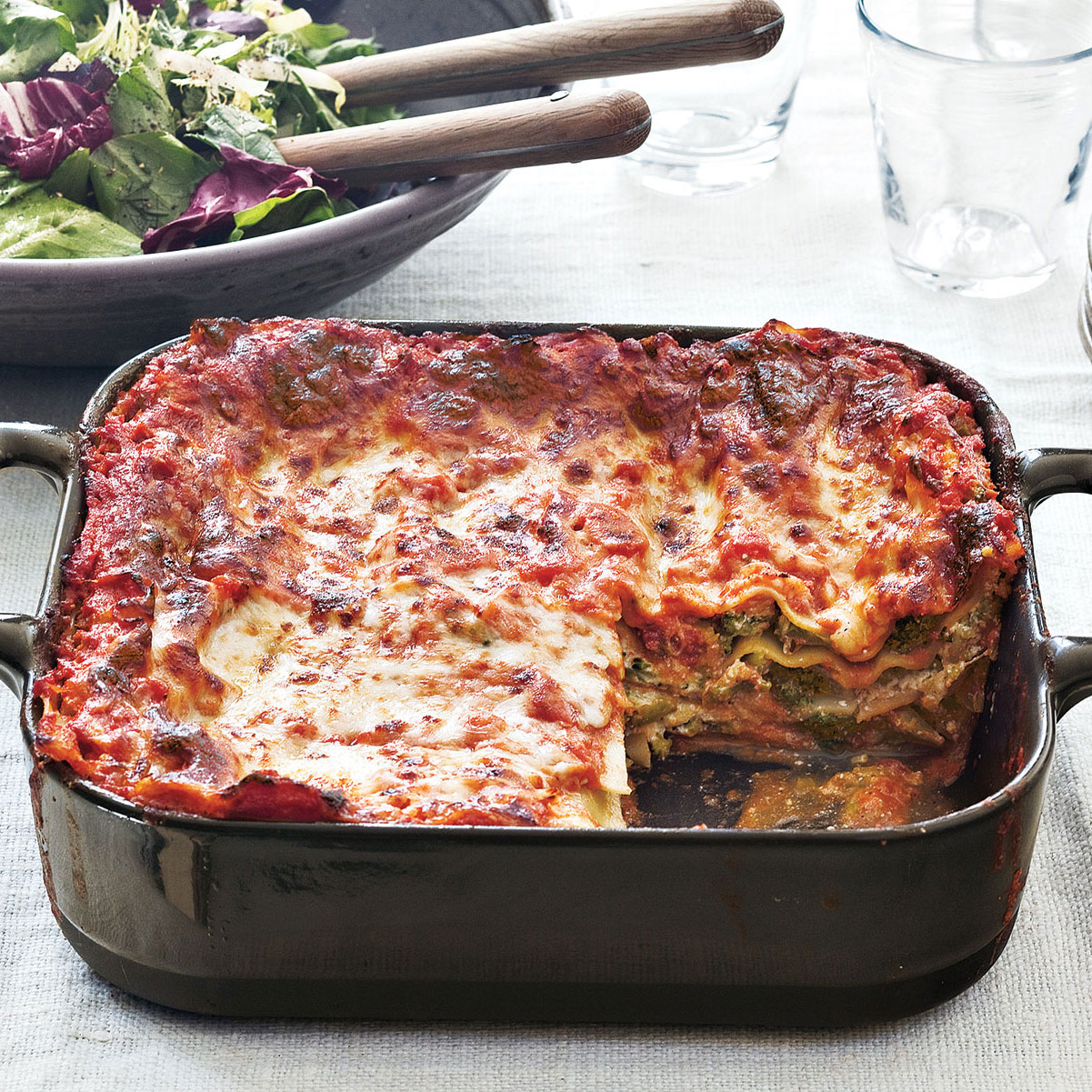 Easy pasta recipes - Broccoli and Three-Cheese Lasagna