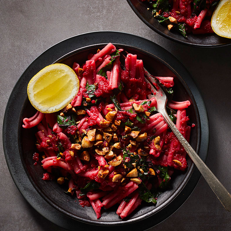 Easy pasta recipes - healthy Beet Pasta With Hazelnuts and Beet Greens