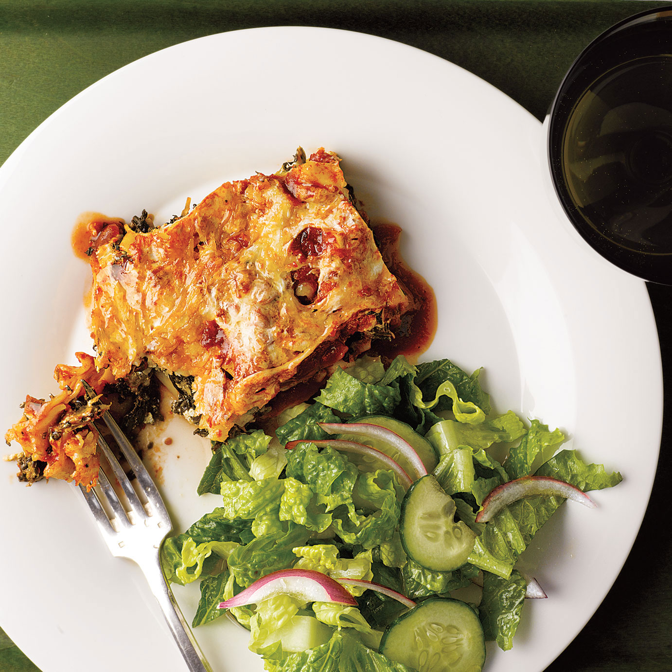 Easy pasta recipes - Slow-Cooker Spinach and Ricotta Lasagna With Romaine Salad