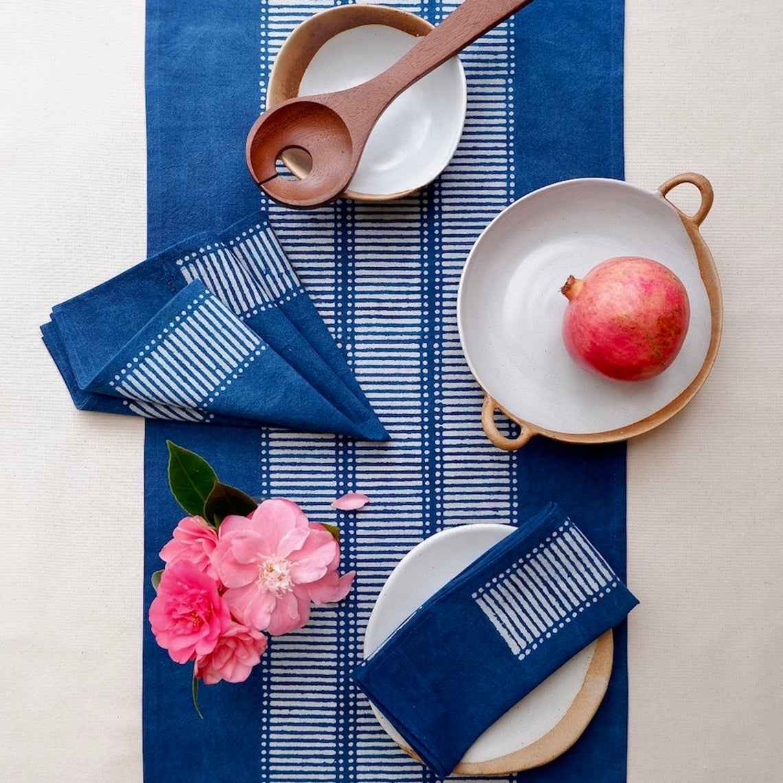 Blue indigo dyed table cloth from Etsy