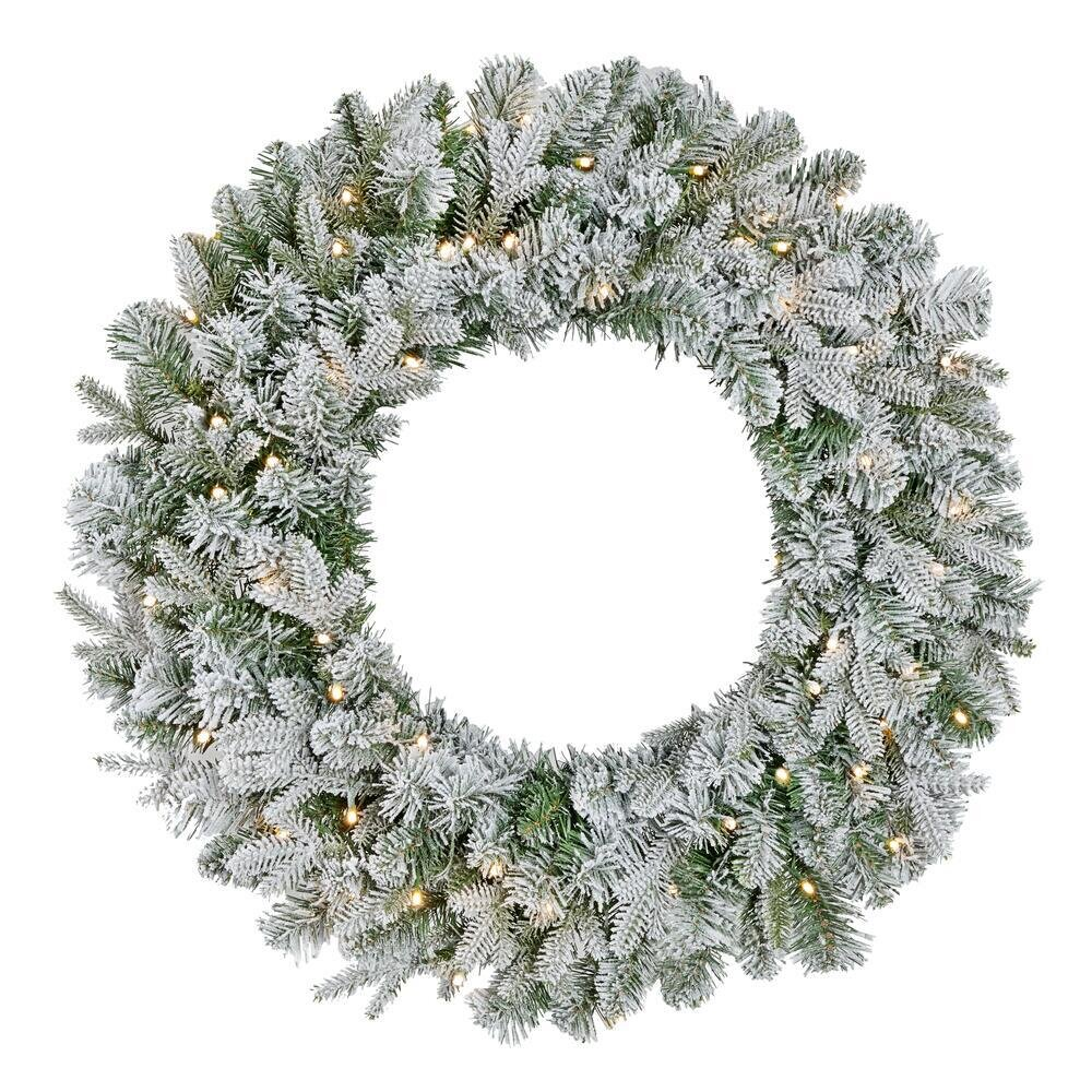 Green flocked holiday decor wreath