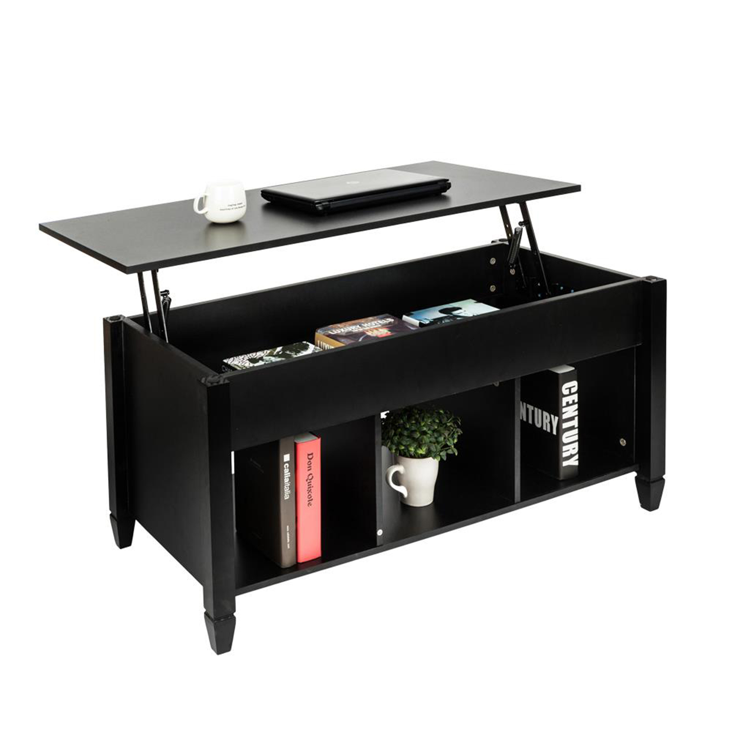 Ktaxon Lift Top Coffee Table Modern Furniture Hidden Compartment and Lift Tablet Black
