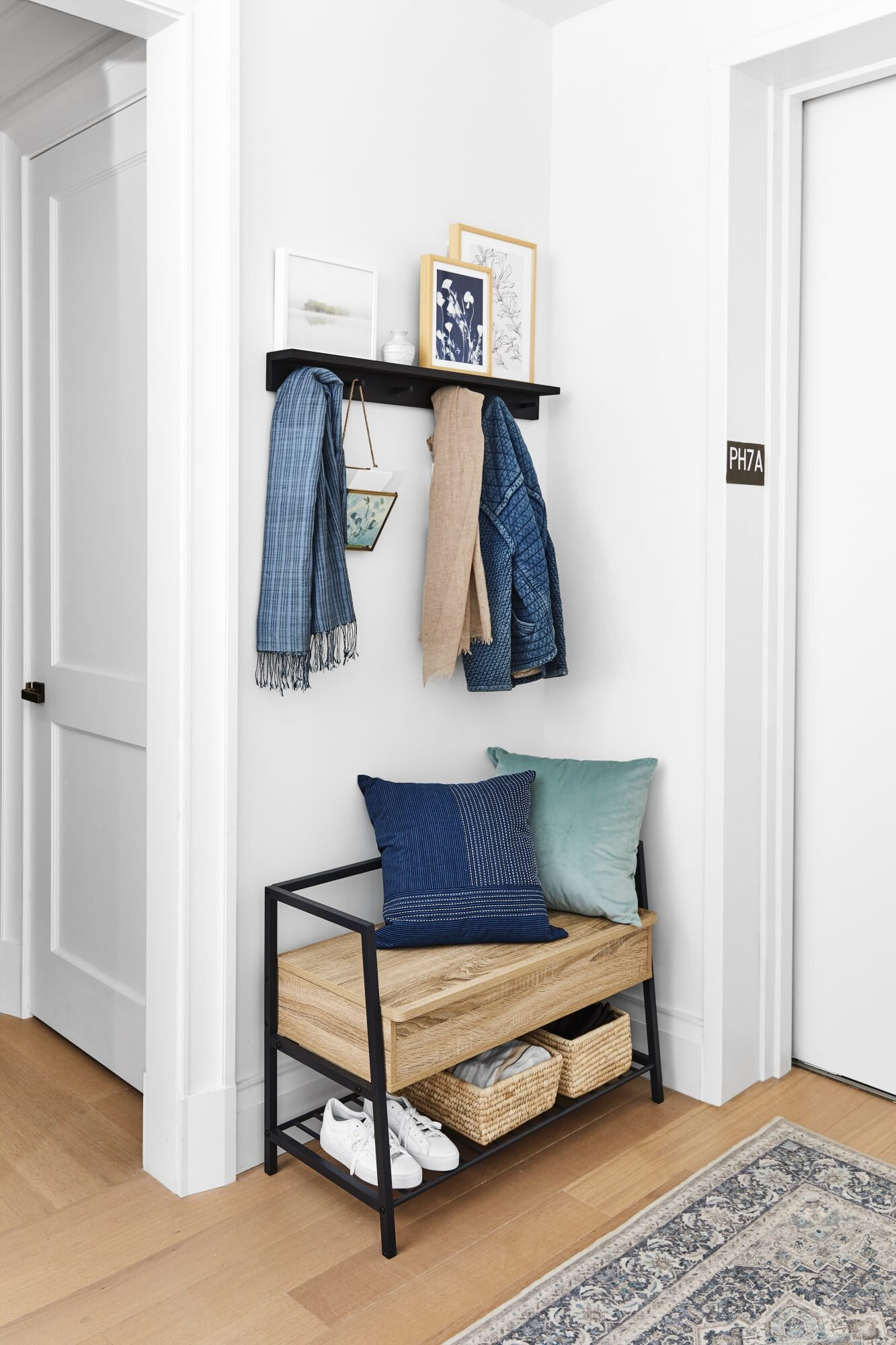 Entryway with bench and peg rail