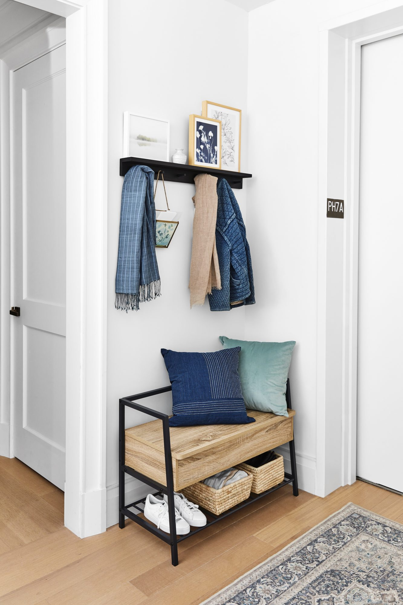 Real Simple Home 2020 Entryway Bench and coat hooks