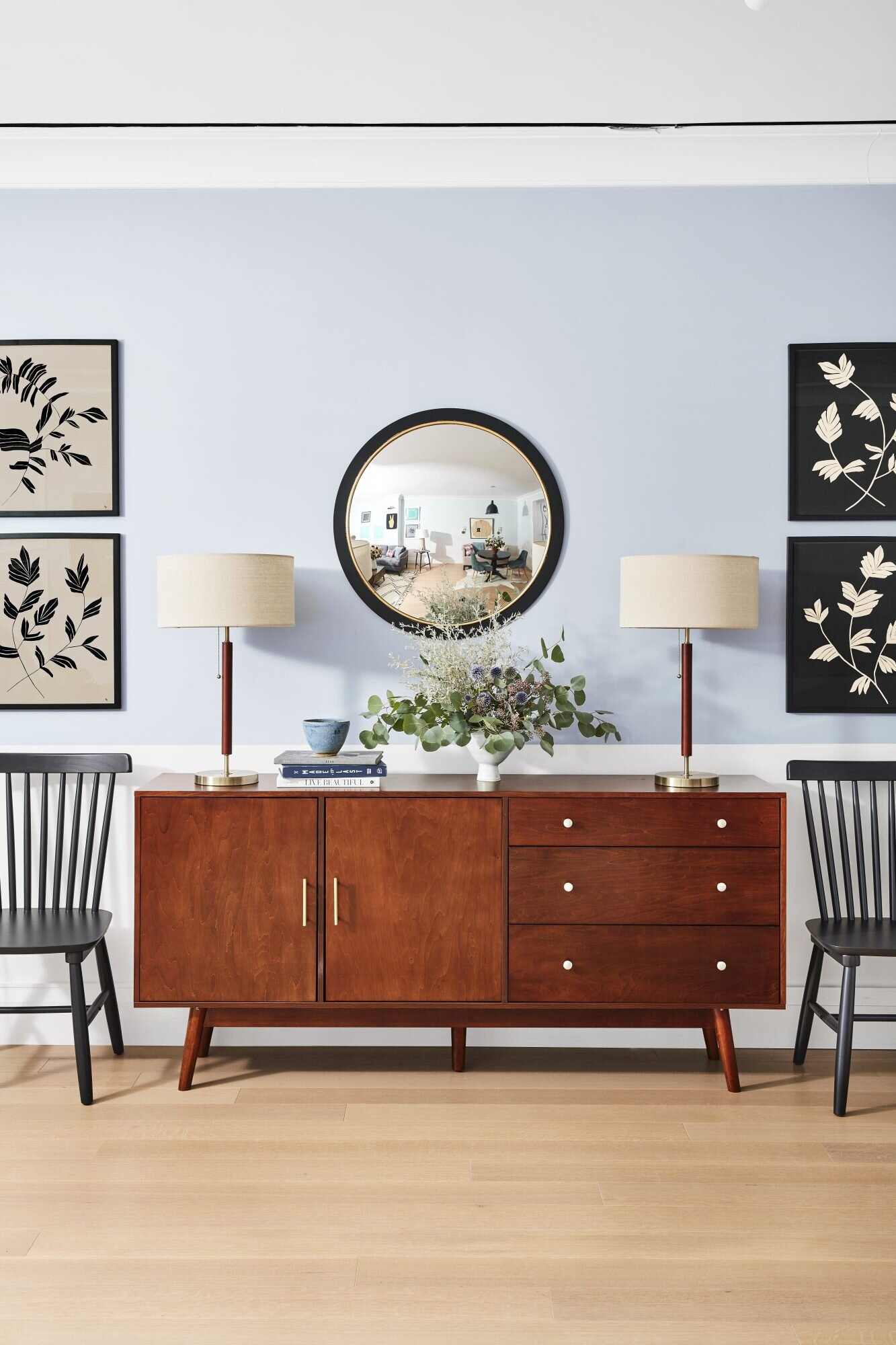 living room with wooden credenza