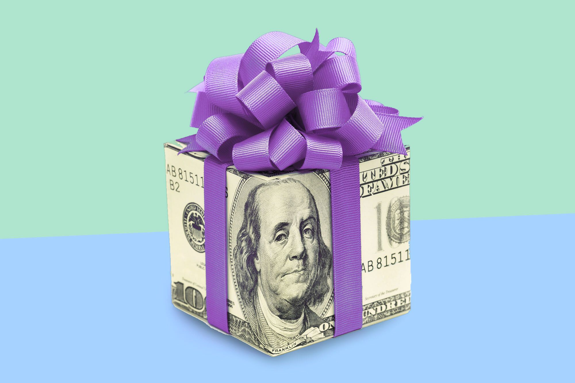 Money wrapped in purple bow