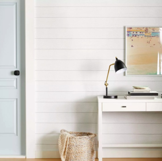 removable shiplap wallpaper in office