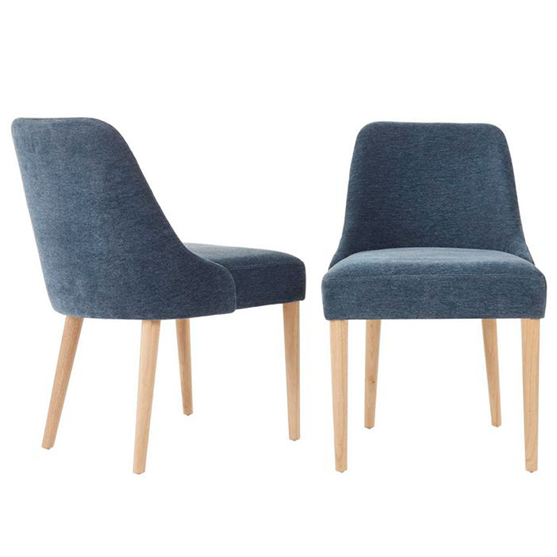 2020 Real Simple Home Dining Room: Benfield Natural Wood Upholstered Dining Chair with Charleston Blue Seat (Set of 2)