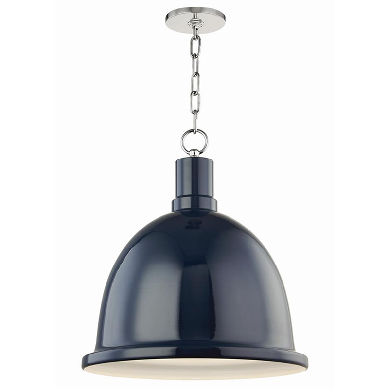 2020 Real Simple Home Dining Room: Blair Polished Nickel Pendant with Navy Metal Shade