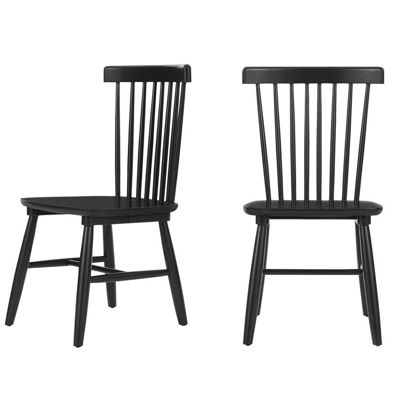 2020 Real Simple Home Living Room: StyleWell Black Wood Windsor Dining Chair (Set of 2)