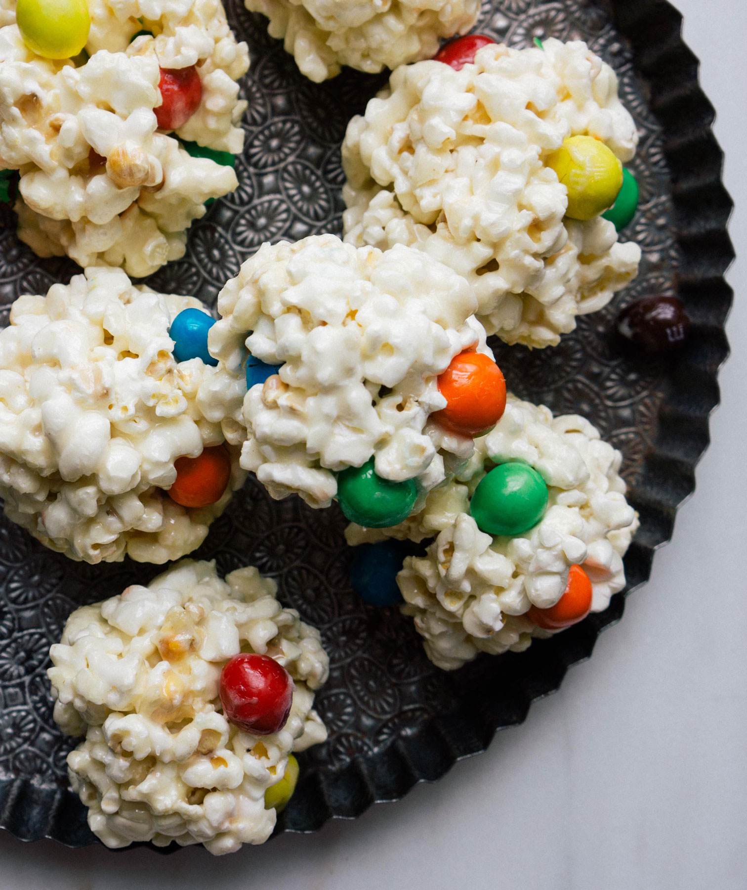 Halloween desserts and Halloween treats - M&M Popcorn Balls