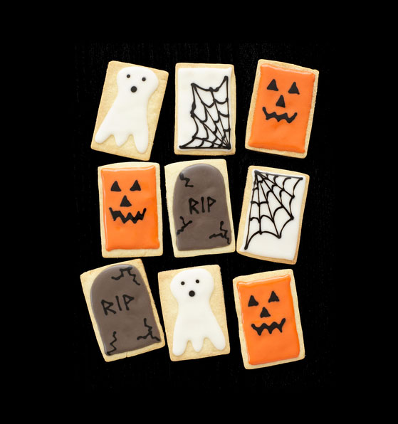 Halloween desserts and Halloween treats - Jack O'Lantern, Tombstone, Spiderweb and Ghost Cookies