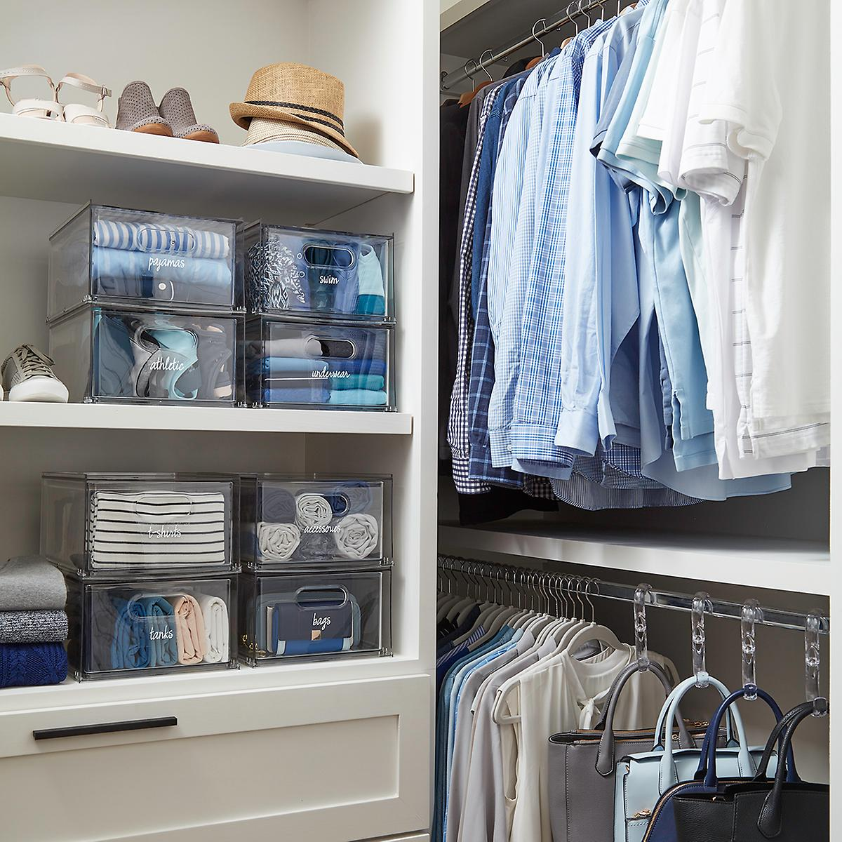 Closet with labels on bins