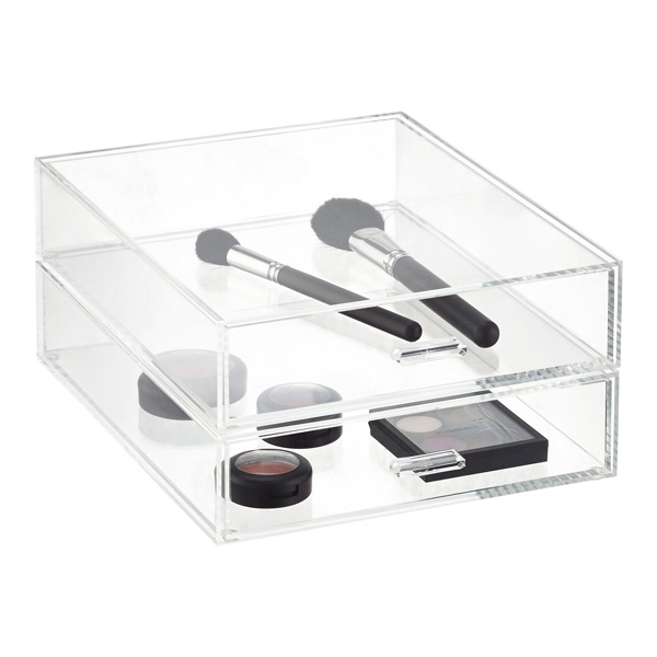 clear acrylic drawers stacked