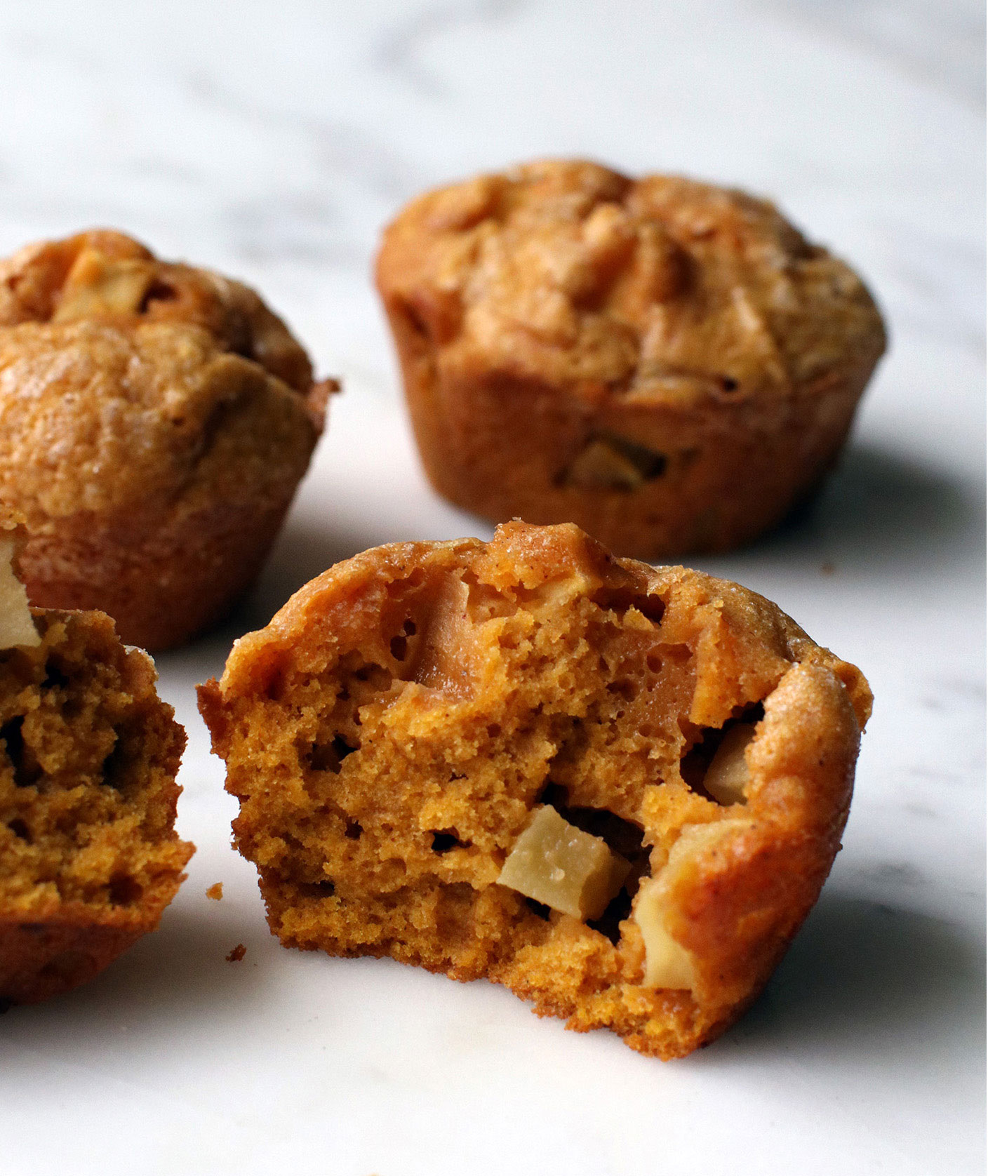 Halloween food ideas, easy Halloween party food - Pumpkin Muffins With Chopped Apple or Pear