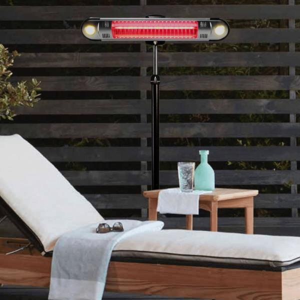 Electric patio heater with remote