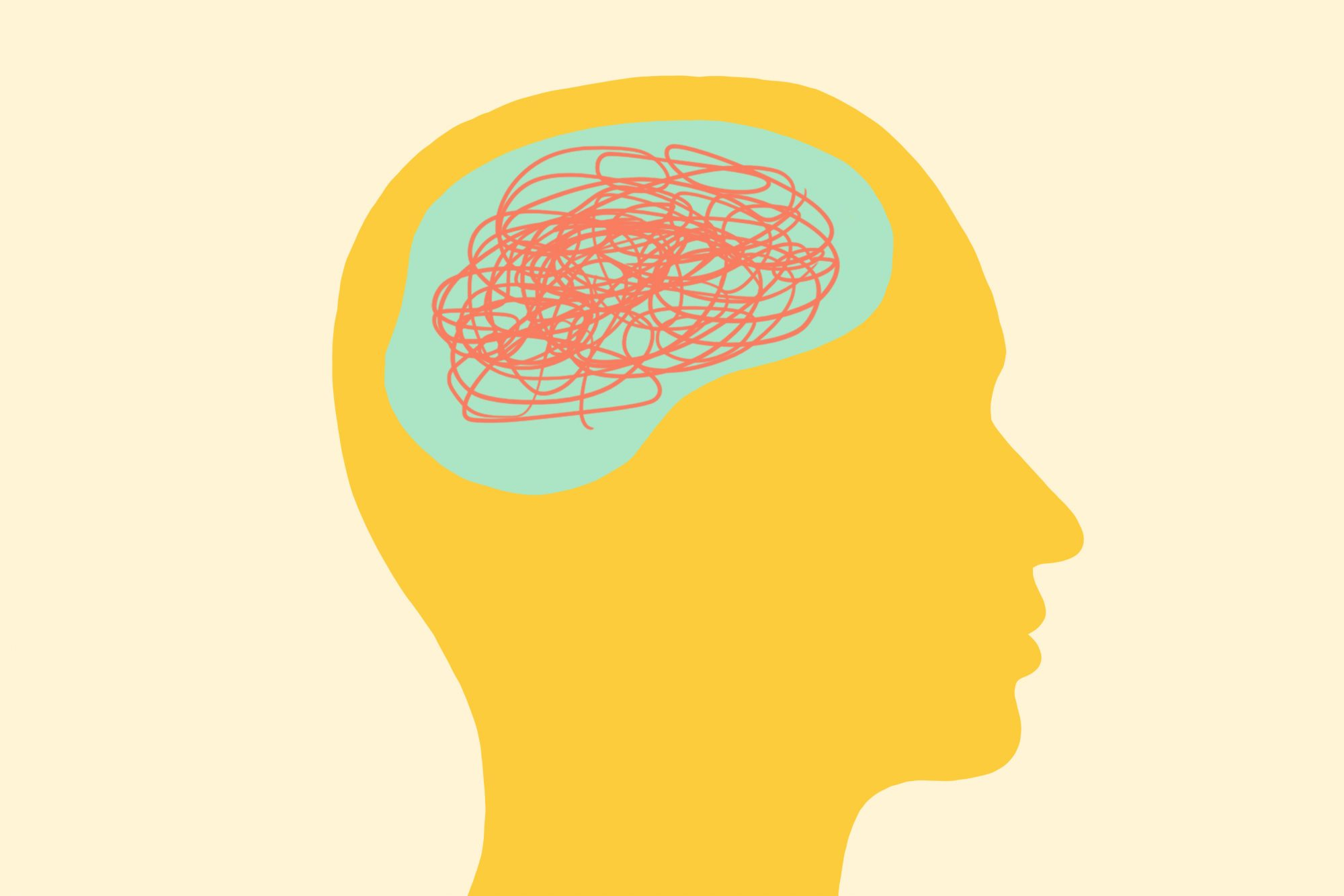 Mindfulness can strengthen your brain through neuroplasticity: silhouette in profile with brain illustration