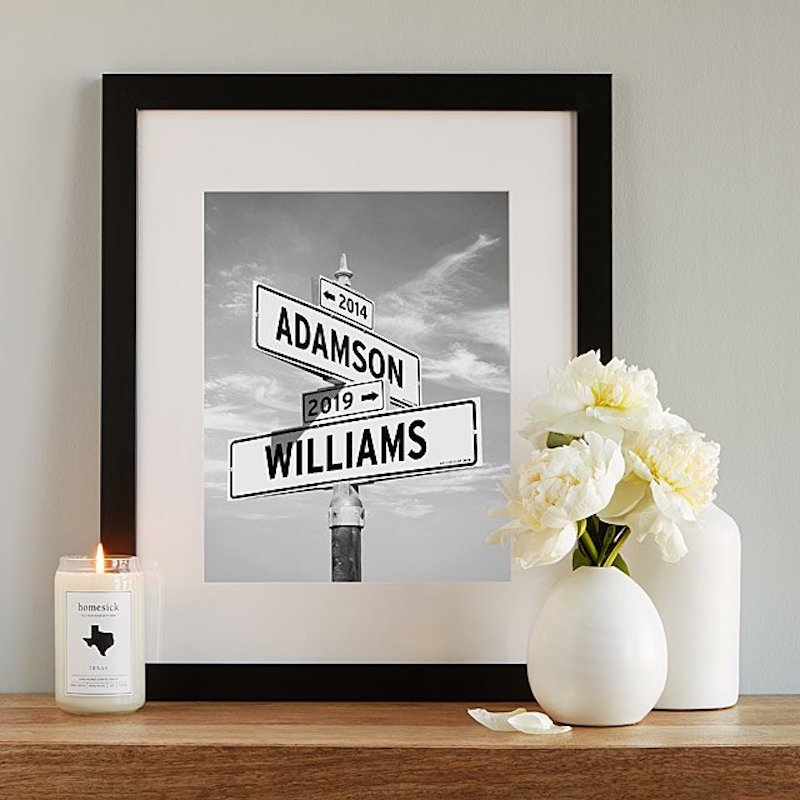 Gifts for Couples, names on street intersection sign