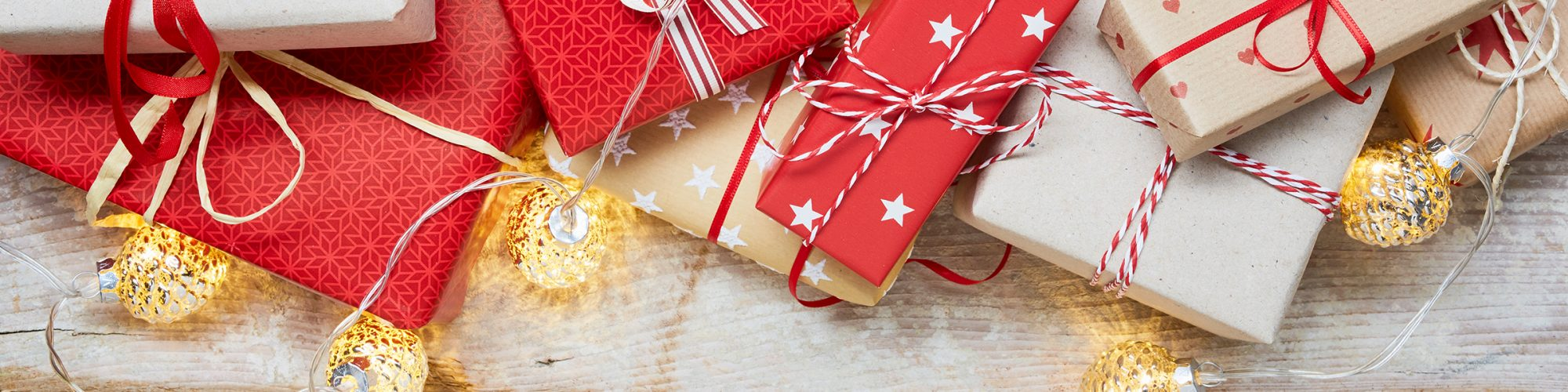 Christmas banner - presents or gifts and lights