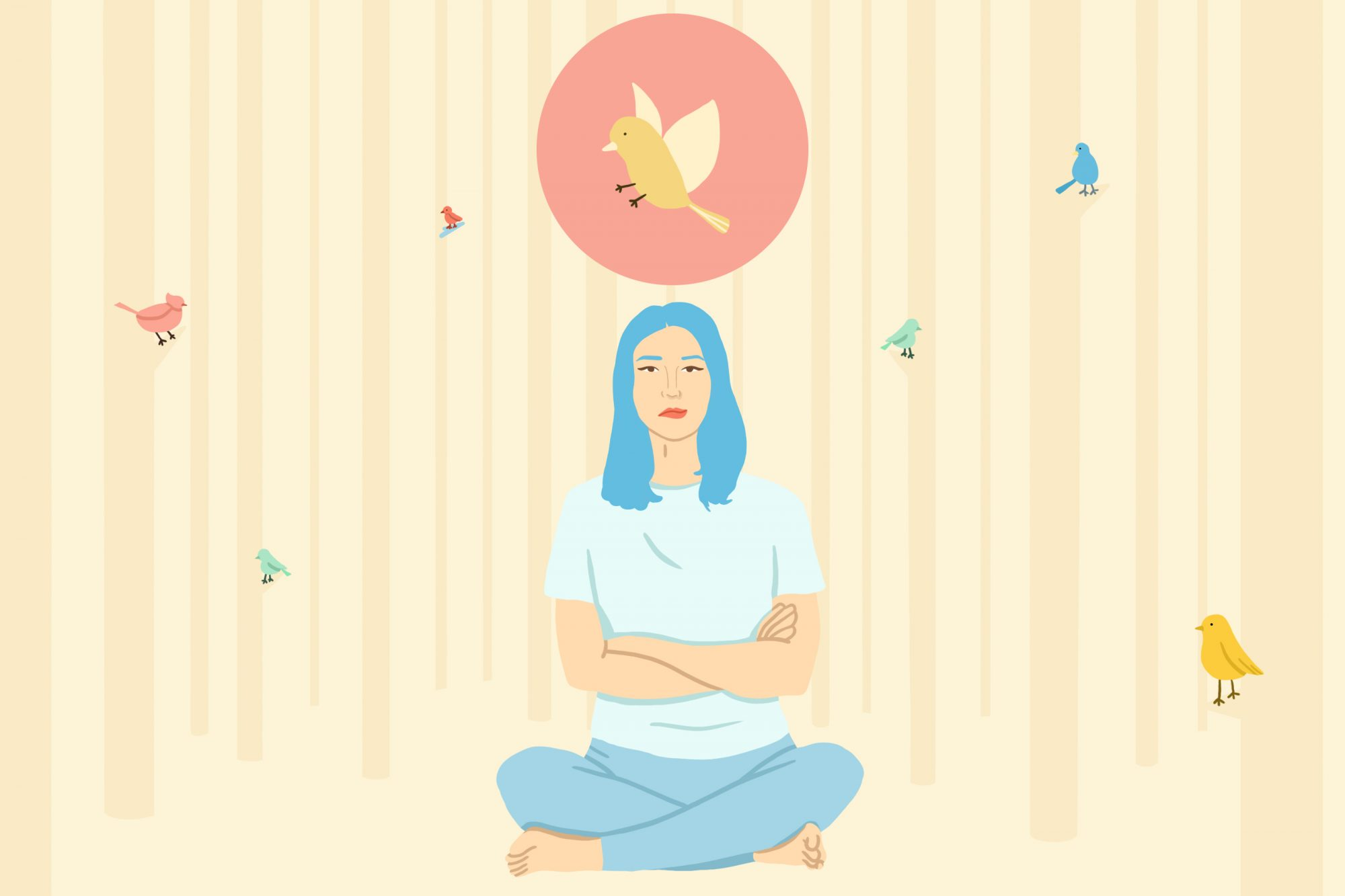 Woman practicing mindfulness in the woods illustration