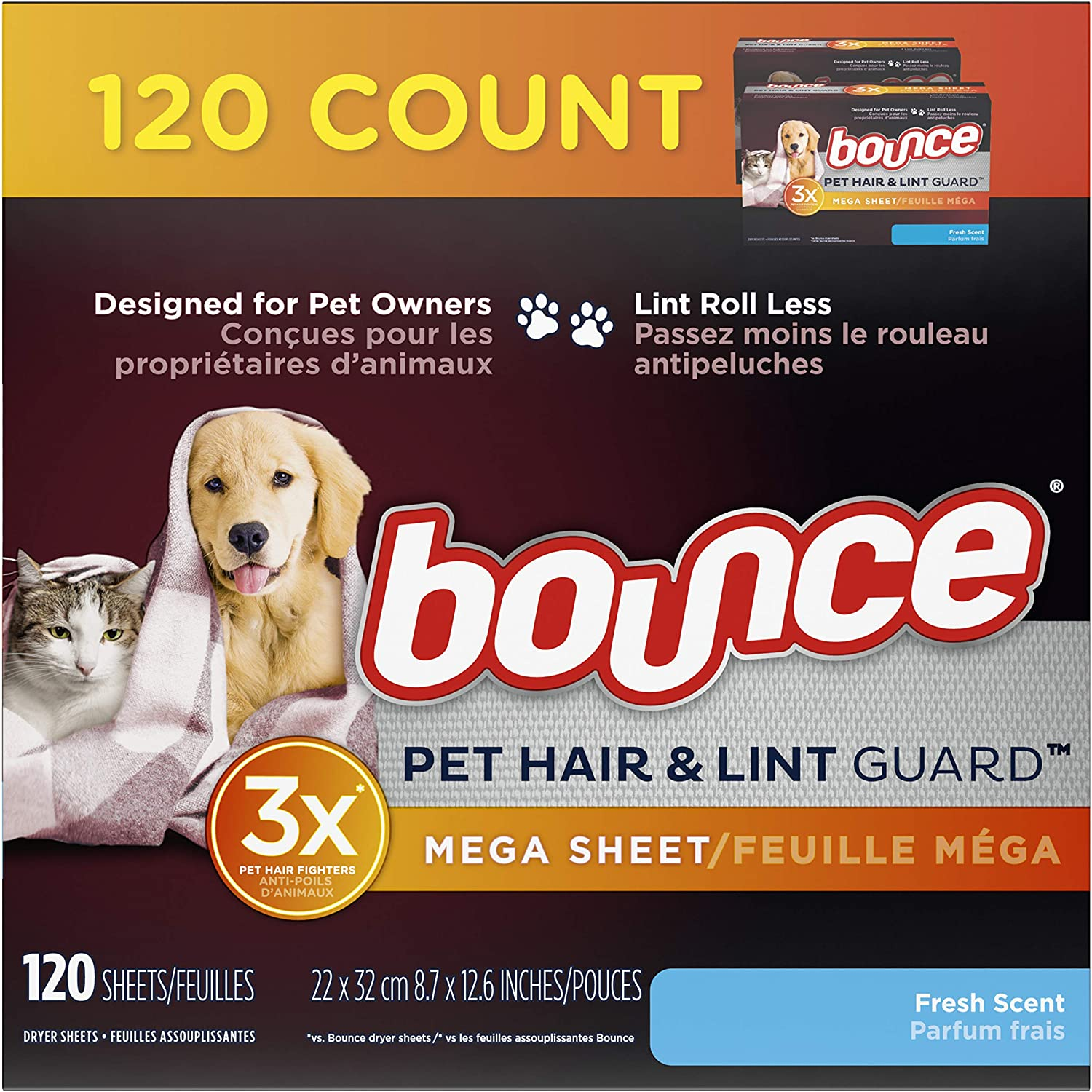 Best Stocking Stuffer – Bounce Pet Hair and Lint Guard Mega Dryer Sheets with 3X Pet Hair Fighters