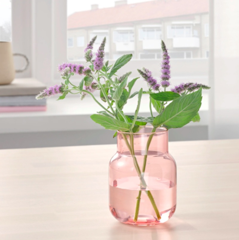 IKEA gifts pink glass vase