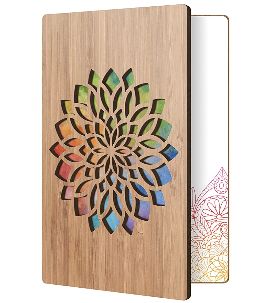 Best gifts for teachers – Handmade Flower Card With Real Bamboo Wood