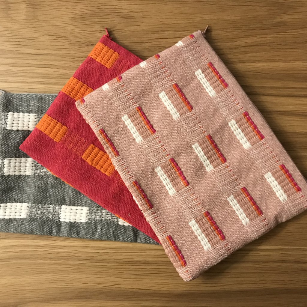 Best Gifts for Girlfriend, Handsewn Pouch in hot pink and orange
