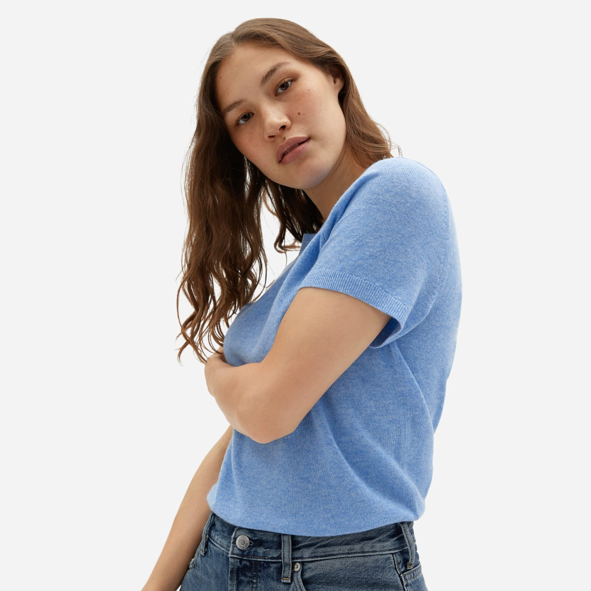 Gifts for girlfriend, cashmere t-shirt in blue