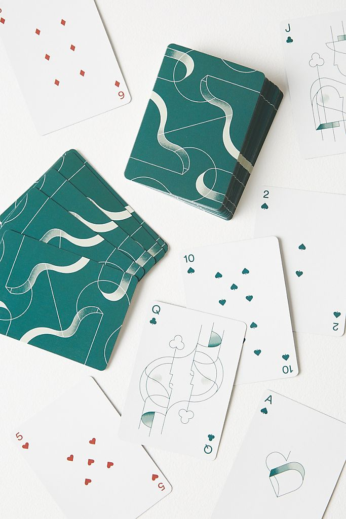 Set of stylish teal playing cards gift idea