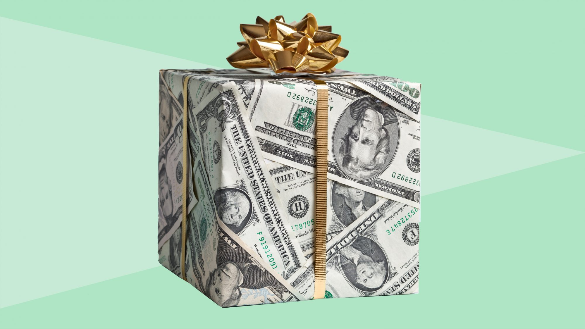 holiday-tipping-checklist: gift wrapped in cash