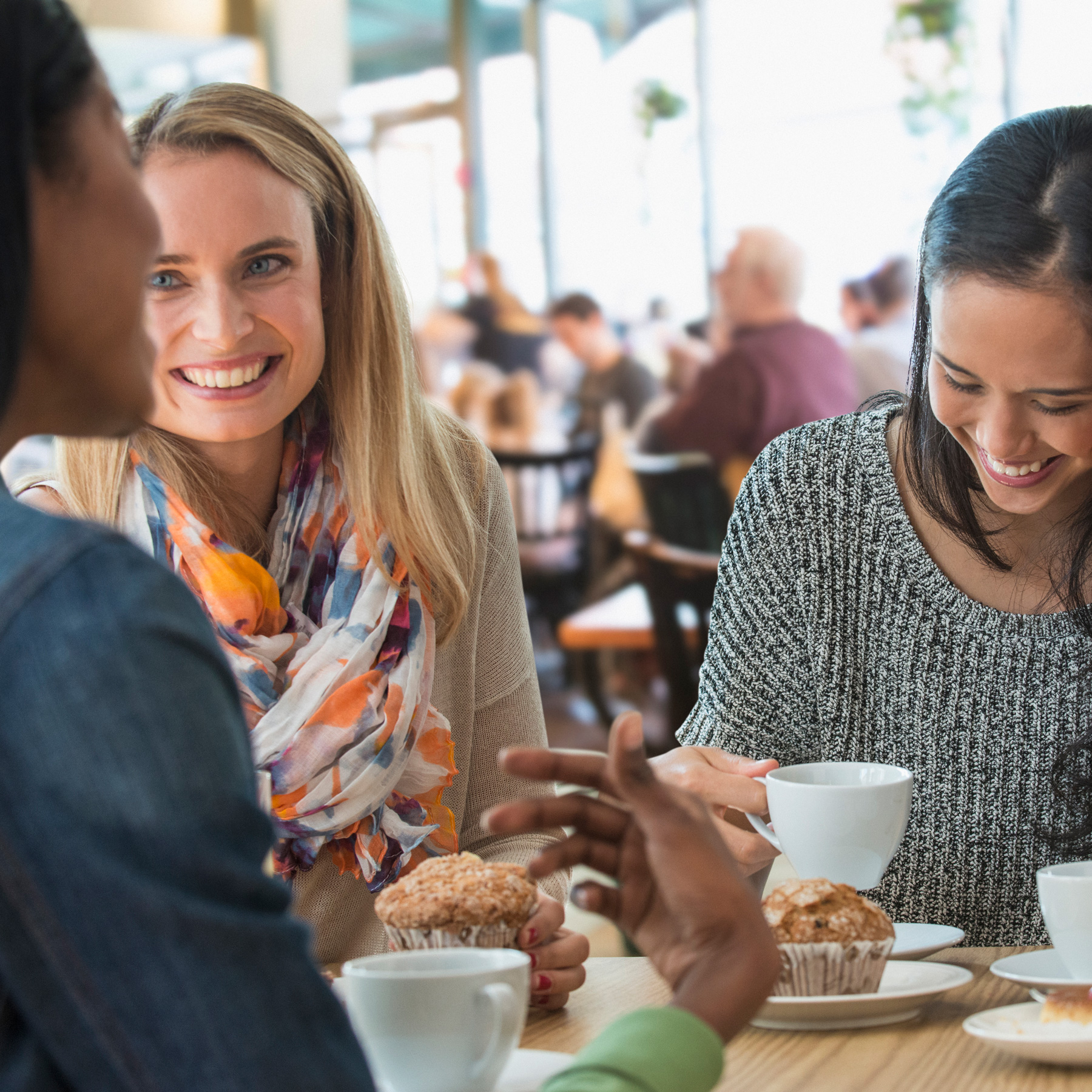 How to break bad habits (gossip), women talking and having coffee at a restaurant
