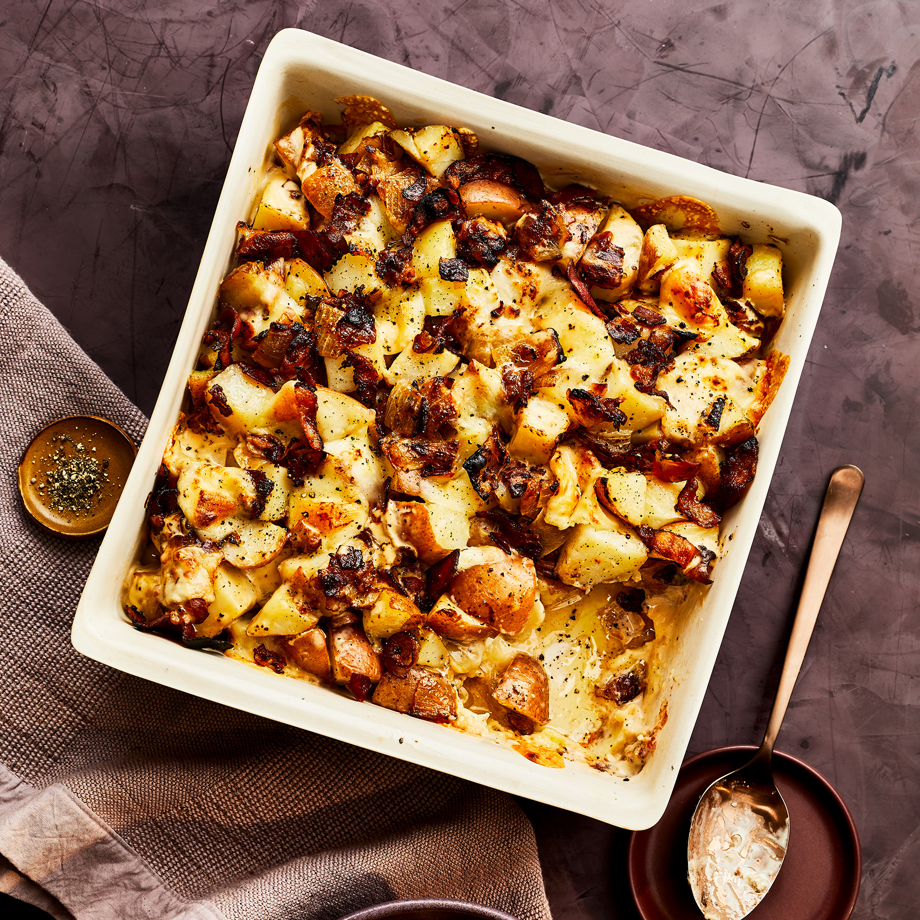 Cheesy Potato and Pancetta Bake