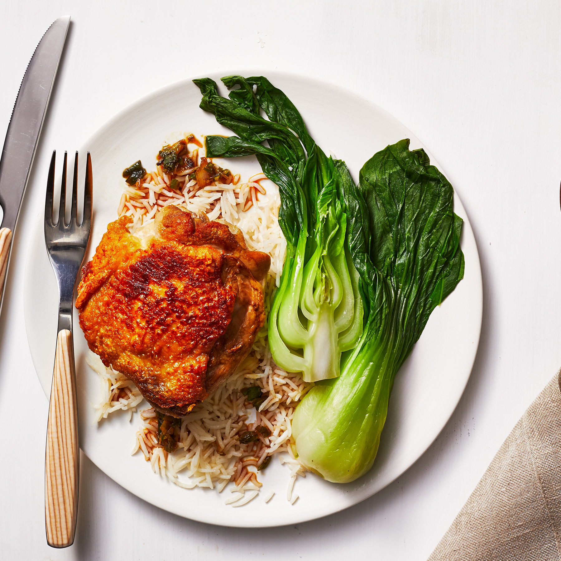 Crispy Chicken and Rice With Charred Scallion Sauce Recipe