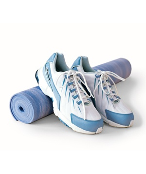 sneakers with yoga mat
