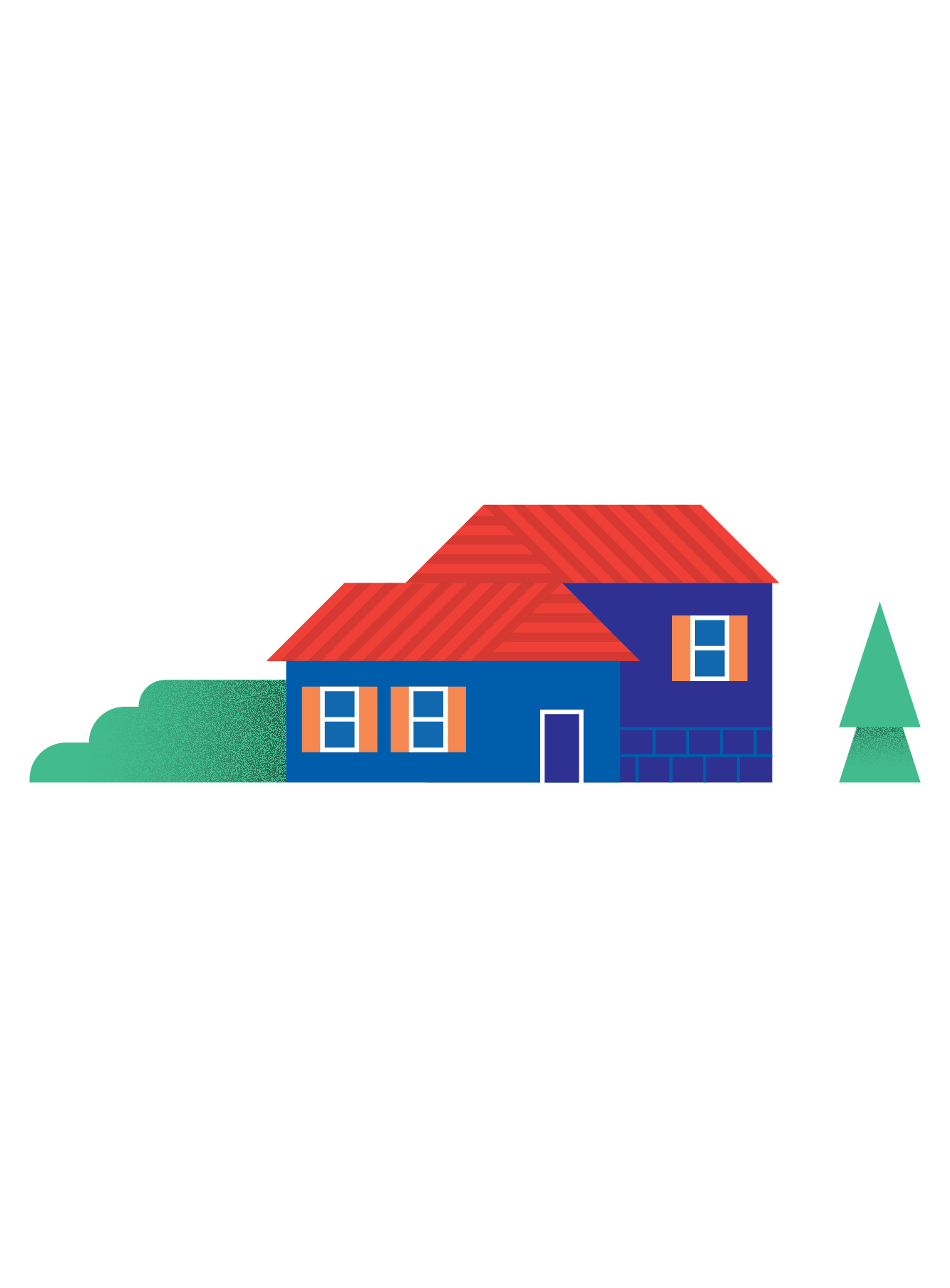 Illustration of a house and a tree
