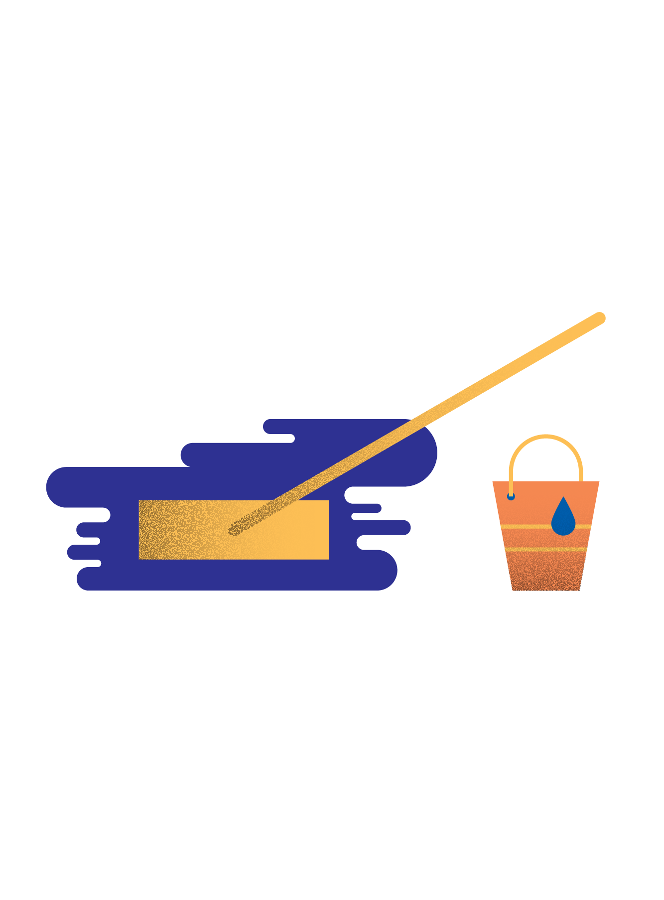 Illustration of a mop and a bucket