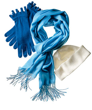 Blue scarf, gloves and white hat