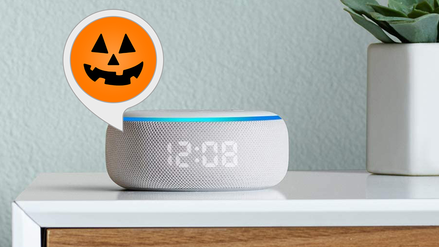 6 Clever Items (10/30/20) - Spooky Halloween Sounds for Alexa tout with echo device